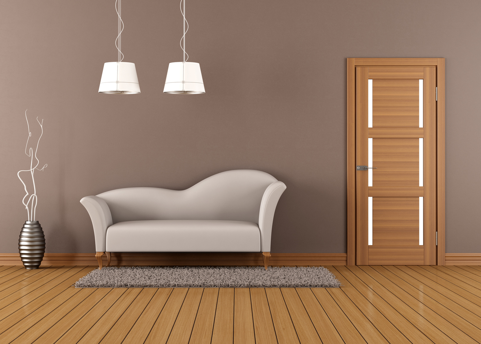 Copyright Fotolia archideaphoto Brown living room with white sofa